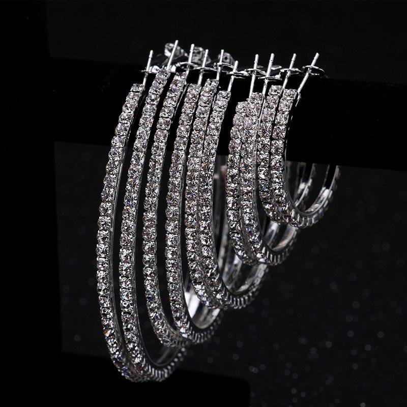 Модные Классические блестящие большой с украшением в виде кристаллов круглые серьги-кольца для женщин простой кубического циркония Женска...