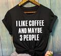 Sugarbaby Nova Chegada EU Gosto de Café e Talvez Tumblr 3 Pessoas T-shirt Da Forma Das Mulheres t camisa Casual Tops Tees de Algodão dropship