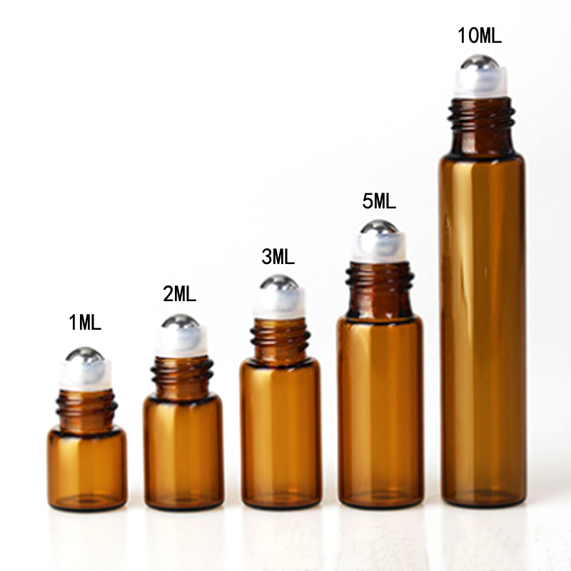 5PC/Pack 1ml 2ml 3ml 5ml 10ml Amber Thin Glass Roll on Bottle Sample Test Essential Oil Vials with Roller Metal /Glass Ball-3