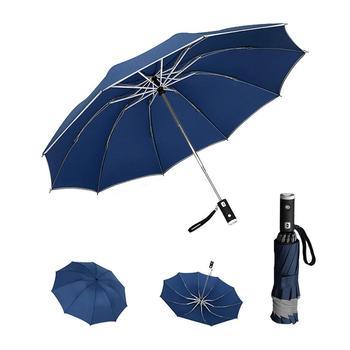 Automatic Reverse Folding Umbrella LED Reflective Strip Automatic Umbrella Flashlight Three-fold Windproof Car Business Umbrella