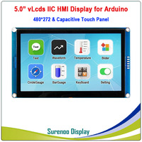 5.0 480*272 Serial I2C IIC vLcds HMI Intelligent Smart TFT LCD Module Display Capacitive Touch Panel for Arduino