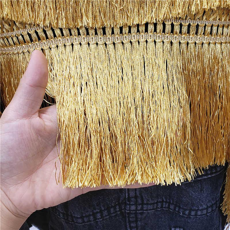 Cakucool Grundlegende Schwarz Jean Jacke Frauen Batwing Hülse Zurück Goldene Quasten Denim Jacke Lose Chic Kurze Mantel Atumn Jaqueta Femme