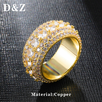 D&Z Size 8 11 Micro Paved CZ Mens Rings Hip Hop Bling Big Zircon Geometric Anillo For Male Luxury Jewelry