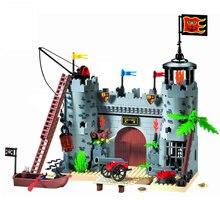 Ilumine o bloco de construção piratas e guardas reais castelo de batalha 366 peças tijolos educacionais brinquedo para o presente do menino-nenhuma caixa