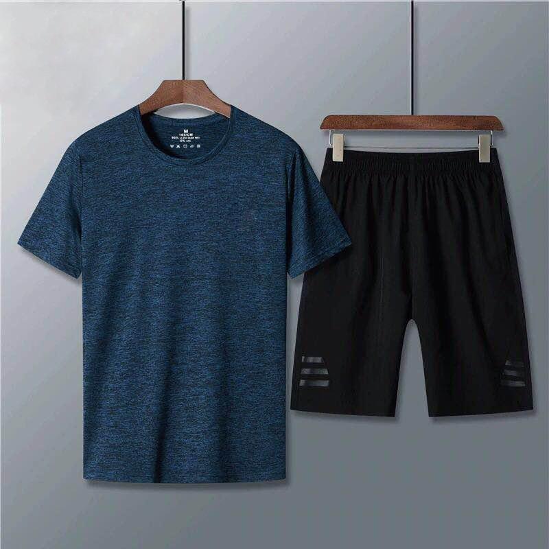2019 Summer Short-sleeved Shorts Sports Set MEN'S Shorts Short Sleeve T-shirt Trend Loose Casual Two-Piece Set