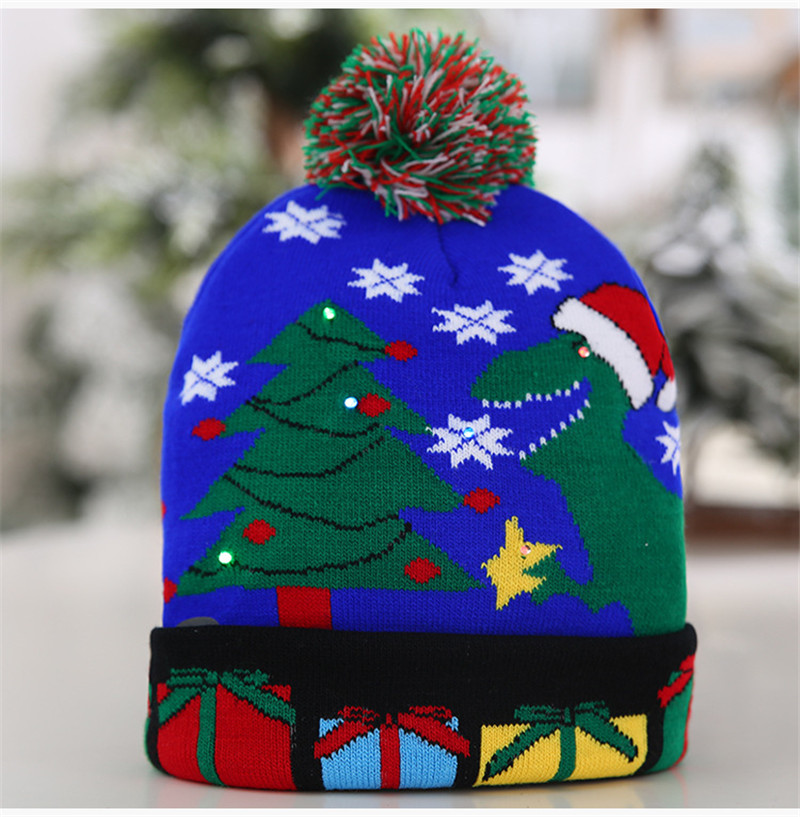 H8ce89041f6cb472186dd7fd34e2ace3f2 - LED Light Christmas Hats Beanie Sweater knitted Christmas Santa Hat Light Up Knitted Hat for Kid Adult For Christmas Party