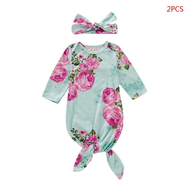 2 Pcs/set Baby Girls Nightgown Newborn Swaddle Bow-knot Headband Set Infants Photography Props Bathing Gifts