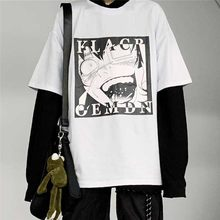 NiceMix Harajuku style cartton letters Print tee shirt streetwear loose short sleeve t-shirt for men and women clothing top(China)