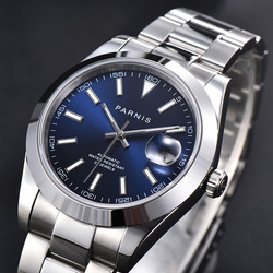 Parnis Blue Dial Men's Watches Calendar Miyota 8215 Movement 21 Jewels Automatic Mechanical Mens Wristwatch orologio uomo 2020