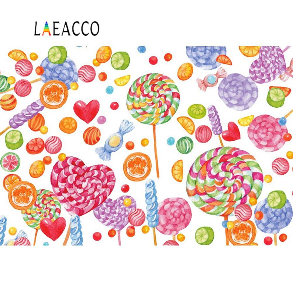 Laeacco 5x7ft Vinyl Photography Background Children Happy Birthday Greeting Magic Unicorn Candy Lollipops Confetti Cartoon Background Photo Backdrop Rainbow Retro Wood Floor Backdrop Kids Baby