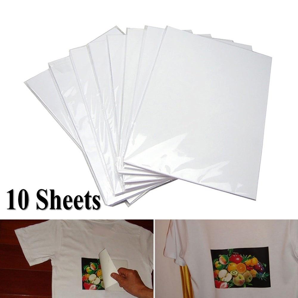 10 шт./лот A4 Термотрансферная Бумага для самостоятельной покраски футболок, термобумага для легкой ткани, украшения ткани