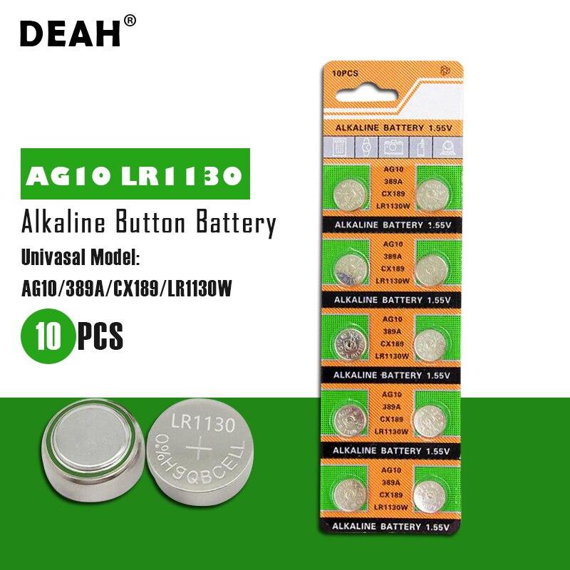 Bateria alcalina ag 10 sr54 1.55 189 389 baterias do botão de sr1130 l1131 g10a da pilha de deah 10 pces ag10 lr1130 ag10 lr1130 para relógios brinquedos