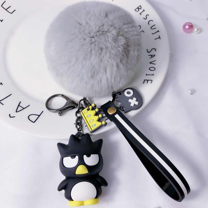 Baru Lucu Kartun Kartun Epoxy Gantungan Kunci Kreatif Rambut Bola Liontin Kartun Penguin Kunci Jaringan Ring Mesin Boneka Hadiah Kecil