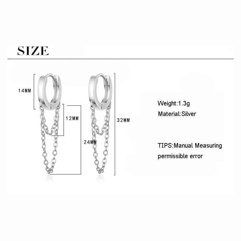 فاسق نمط 925 فضة طبقة مزدوجة سلسلة هوب القرط للنساء الذهب الفضة الأذن مجوهرات لأفضل الأصدقاء S-E995