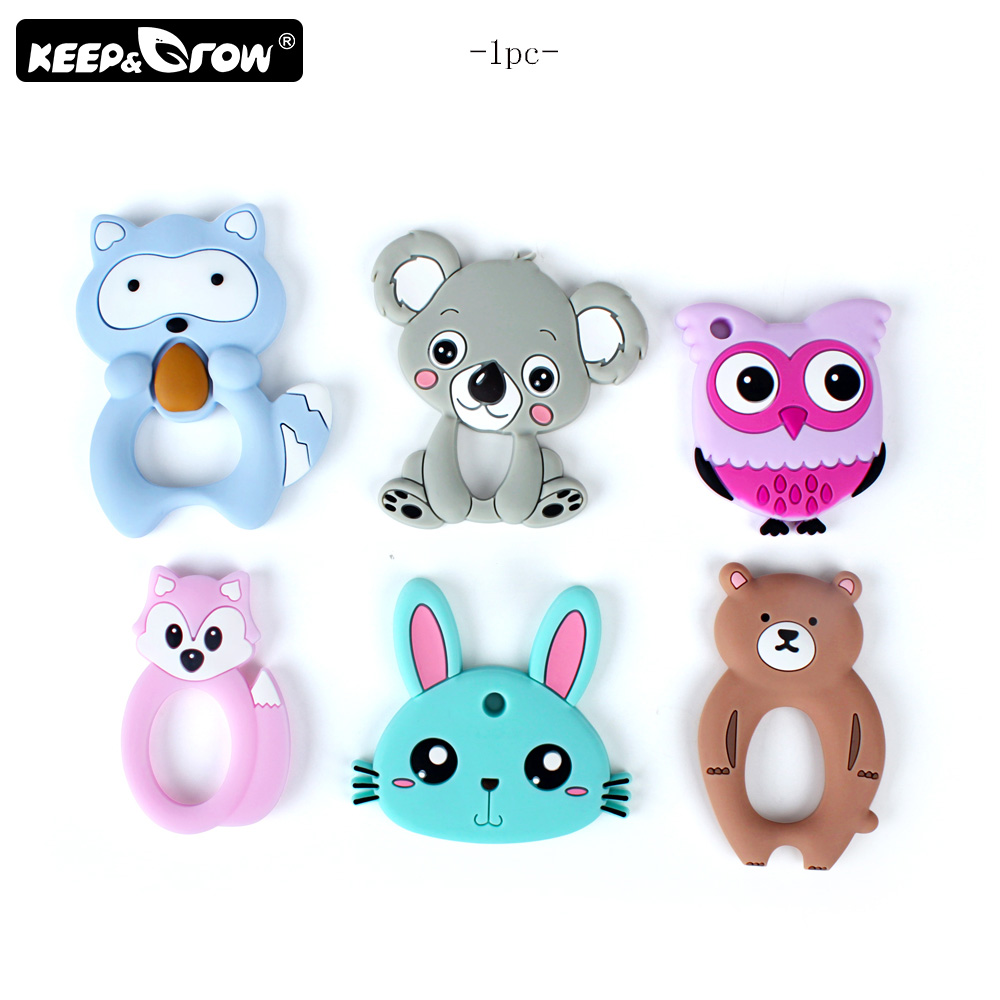 Keep&Grow 1pc BPA Free Cartoon Silicone Teether Food Grade Silicone Beads DIY Necklace Pendant Toys Accessories Baby Teethers