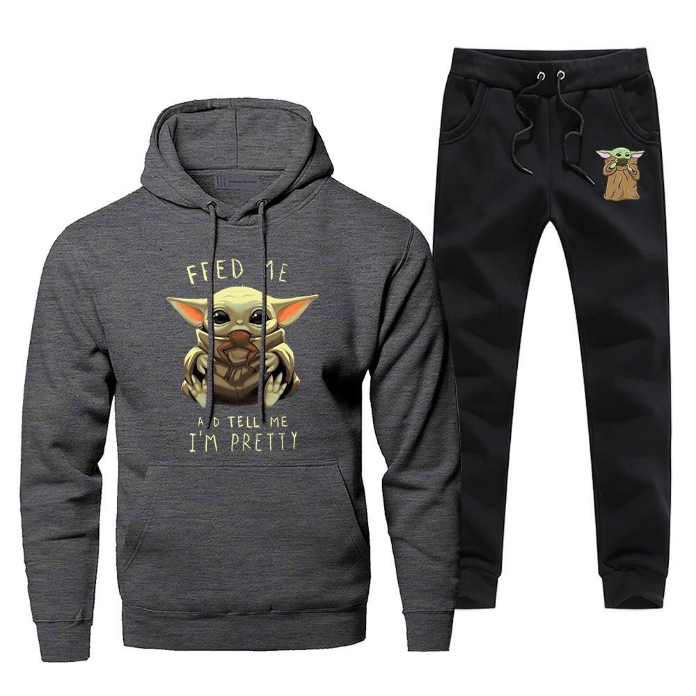 Baby Yoda The Mandalorian Men's Sportswear Sets Star Wars Tracksuit 2 Piece Sweatshirt + Sweatpants Set 2020 Spring Men Suits