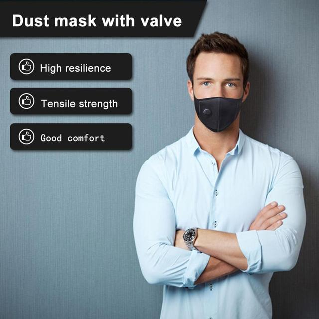 1PC Anti Flu Mouth Mask Dustproof Anti-fog Haze PM 2.5 Activated Carbon Reusable Face Mouth Mask Cover Respirator Unisex Black