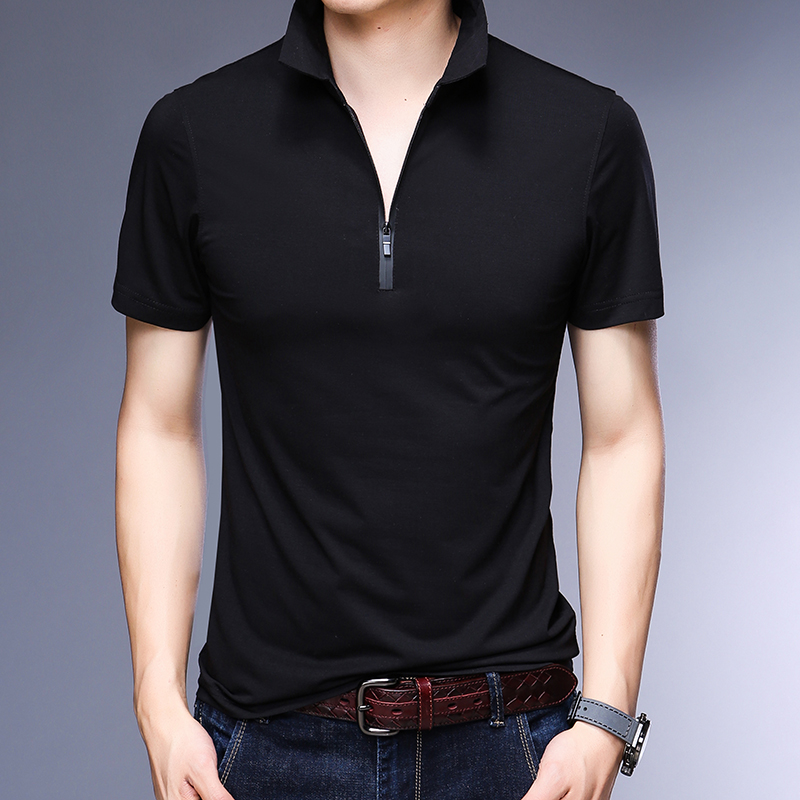 Hot sale summer mens fashion zipper slim fit business   polo   shirt cotton solid color   polo   shirts for man short sleeve clothing