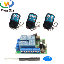 433Mhz Universal Wireless RF Remote Control Switch DC12V 4CH Relay Receiver Module 4 Buttons Remote Control For Hall Gargae Door