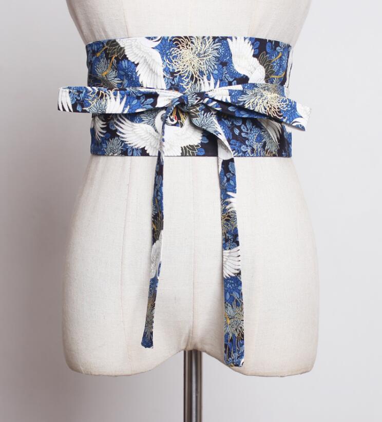 Women's Runway Fashion Bird Print Linen Bow Cummerbunds Female Dress Corsets Waistband Belts Decoration Wide Belt R1849