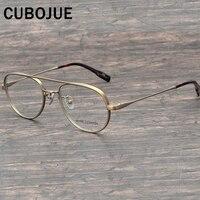 Cubojue Titanium Glasses Men vintage brand Eyeglasses Frame Man Prescription Spectacles small nerd points aviation Eyewear Gold