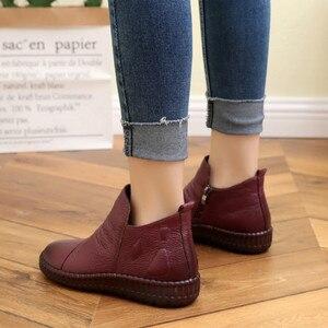 Image 2 - Dropshipping แฟชั่นฤดูใบไม้ร่วงแบนรองเท้าของแท้รองเท้าหนัง Vintage Casual รองเท้า Retro Handmade ผู้หญิง Boot