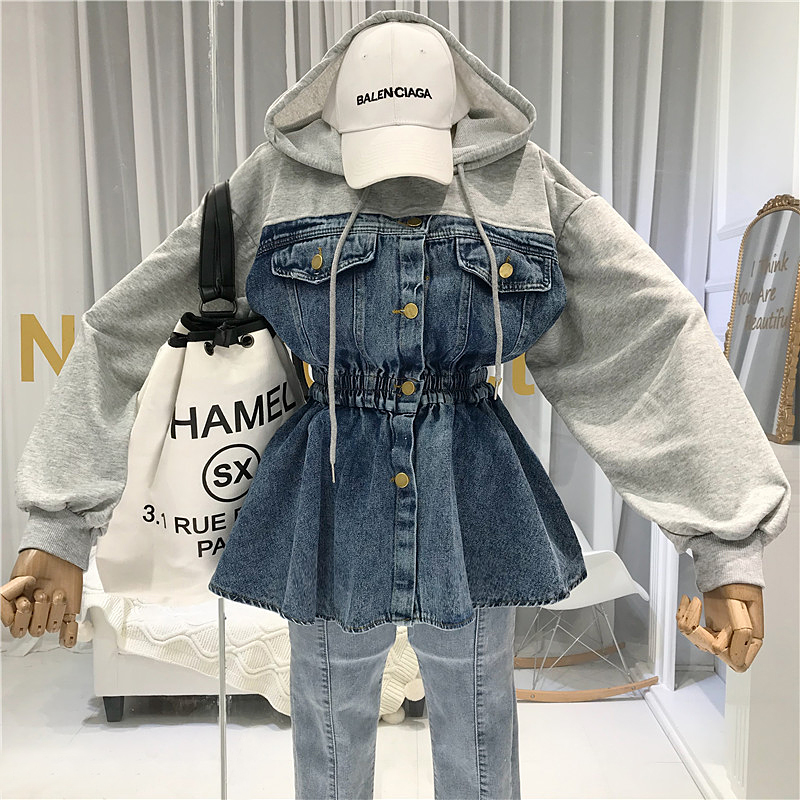 Fashion Patchwork Denim  Women Jackets with Hooded Casual Coats and Japanese Streetwear Elastic Waist