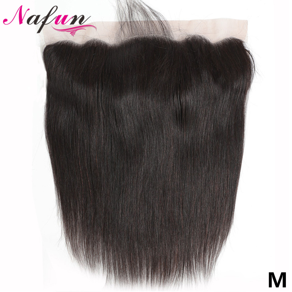 NAFUN 13x6 Lace Frontal Closure With Baby Hair Human Hair Closure Non-Remy Brazilian Straight Hair 13x4 Closure Middle Ratio