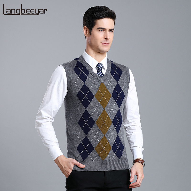 New Fashion Brand Sleeveless Sweater Mens Pullover V Neck Slim Fit Jumpers Knitting Patterns Autumn Vest Casual Clothing Men