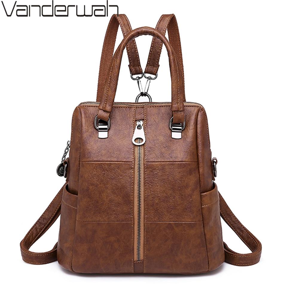3-in-1 Women Backpacks Vintage Female Shoulder Bags Soft Leather Backpack Ladies Travel Back Pack Luxury Bags For Girls Mochilas