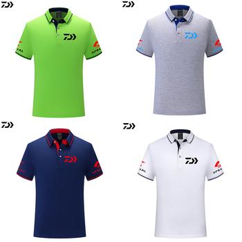 T shirt wędkarski Polo Tee szybkoschnący oddychający sport Outdoor DAWA mężczyźni odzież wędkarska z krótkim rękawem Top wędkarski Tshirt tanie i dobre opinie Finsimplee ZW706