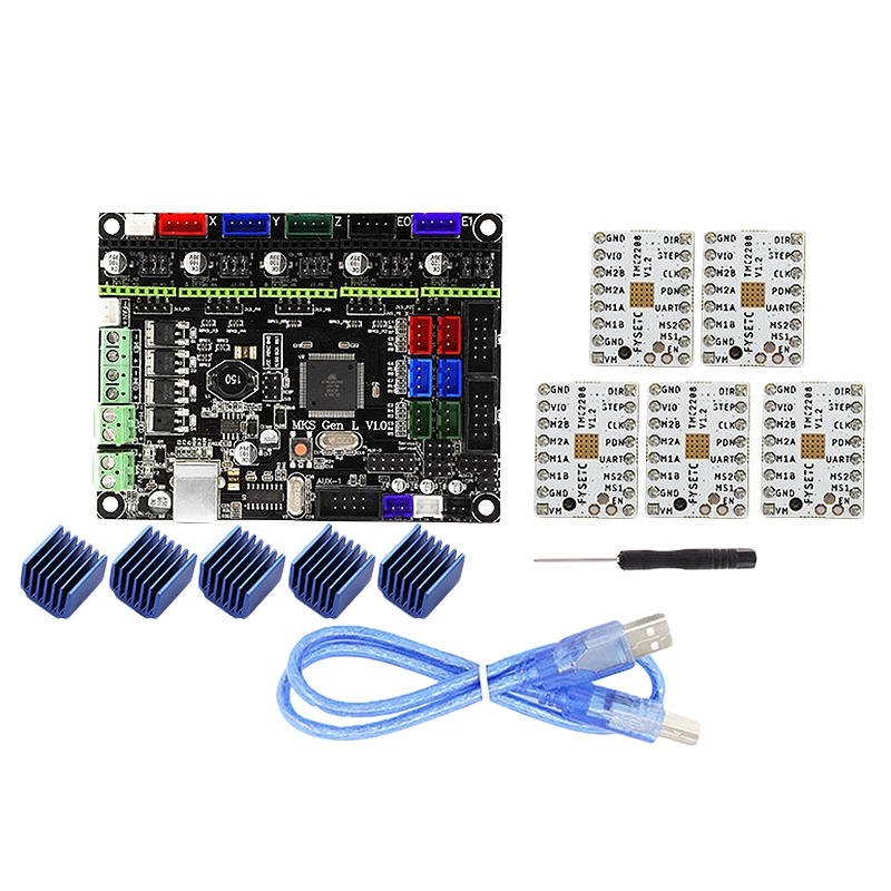 Mks Gen L V1.0 Contrôleur Intégré Carte Mère + 5 pièces Tmc2208 Moteur pas à pas Pour 3D Imprimante Avec USB C