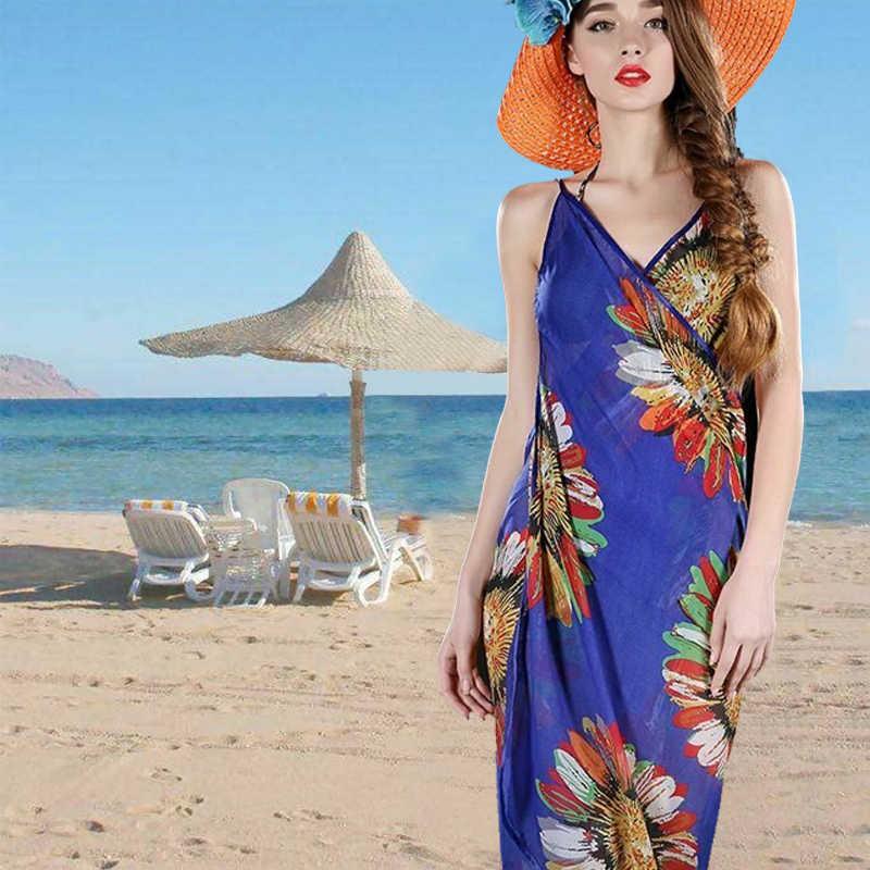 Nuovi Vestiti Sexy delle Donne Fionda Usura di Estate Stampa Floreale Vestito Senza Spalline Copertura Wrap Asciugamano Aperto-Back Costumi Da Bagno Per all'aperto Sulla Spiaggia