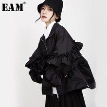 [EAM] Loose Fit שחור ראפלס תפר גדול גודל מעיל חדש דש ארוך שרוול נשים מעיל אופנה גאות באביב סתיו 2020 1B894