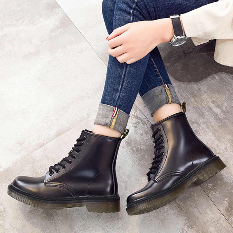 Thời Trang Mắt Cá Chân Giày Cho Nữ Giày Người Yêu Da Thật Chính Hãng Da Giày Bốt Martin Cho Nữ Mùa Đông Giày Nữ Giày Nữ Boot Plus Kích Thước 43