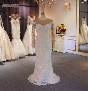 Image 3 - Luxe 2 in 1 trouwjurk full lace mermaid trouwjurk met afneembare rok