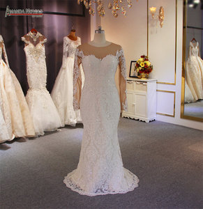 Image 3 - Luxury 2 in 1 wedding dress full lace mermaid wedding dress with detachable skirt