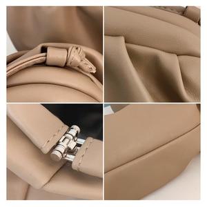 Image 5 - TTOU Fashion Elegant Clutch Evening Party Bag Women Big Ruched Pillow Bag Leather Korea Pouch Handbag White Black Bag Brand