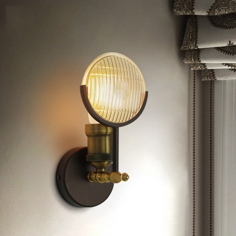 American LED Wall Lamp Decor Iron Wall Light for Living Room Stair Aisle Nordic Sconce Bedside Bedroom Lamps Wall Light Fixtures