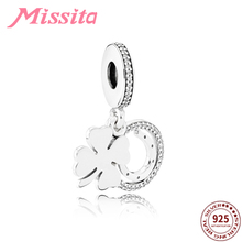 MISSITA 100% 925 Sterling Silver Clover Pendant fit Pandora Charms Bracelet CZ DIY Jewelry Women Accessories