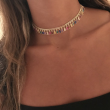 2021 Gold Plated Colourful Baguette Rainbow CZ Choker Charm Necklace For Women Lady Party Gift Trendy Gorgeous Elegance Jewelry