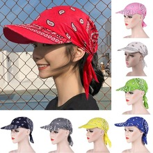 Bandana Turban Square Scarf Hat Boho Paisley Floral Tie Knot Back Cotton Baseball Cap Adjustable Women Headscarf Sun Visor Hat