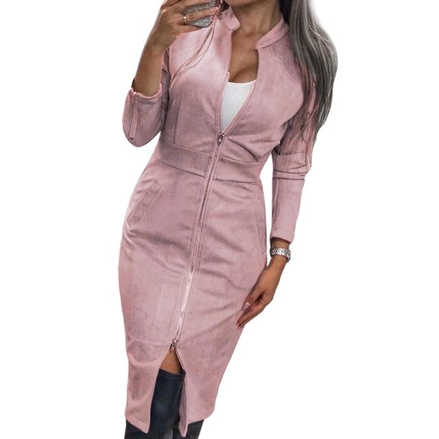 TAOVK Women's Dress Long Sleeve Bodycon Zippers Vintage Stand Collar Office women's Dresses