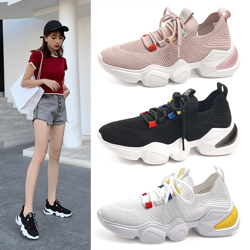ZHR 2020 White Sneaker Women Casual Shoes Lace Up Sports Running Walking Shoes Fashion Trends Platfo