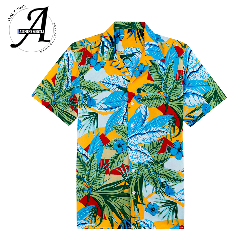 2020 Mens Short Sleeve Beach Hawaiian Shirts Summer Cotton Casual Floral Shirts Plus Size 8XL Mens Clothing Fashion