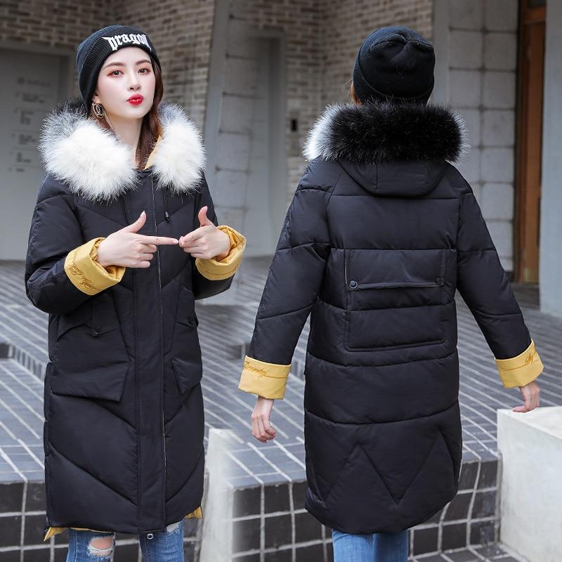 Fabricants vente directe automne et hiver nouveau Style vêtements rembourrés de coton femmes mi-longueur épais à capuche grand col en fourrure