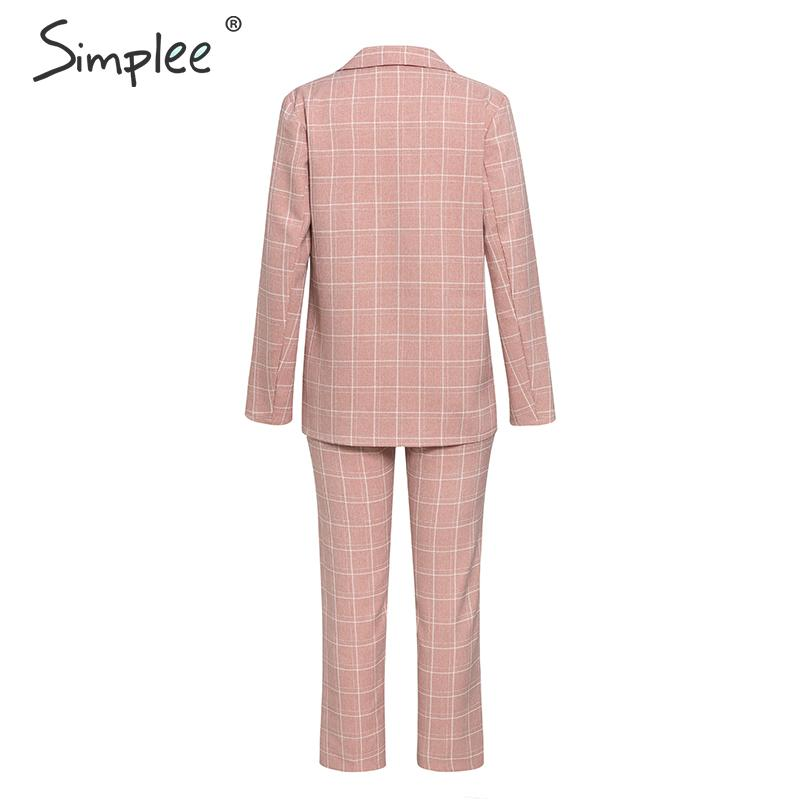 H8ceab17fe7814391a60348e0592e291fL - Simplee Fashion plaid women blazer suits Long sleeve double breasted blazer pants set Pink office ladies two-piece blazer sets