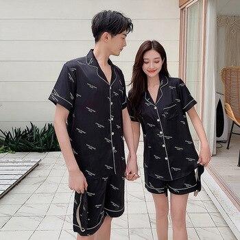 Sexy sweet bee parejas conjuntos de pijamas cortos mujeres ropa de dormir primavera hielo seda calidad amantes de manga corta pijamas mujeres pijamas hombres