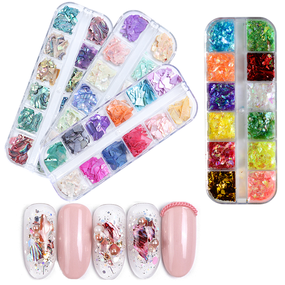 Mixed 12 Color Holographic Ice Mylay Broken Shell Nail Sequins DIY Decor Shinning Flakes Paillette For Nail Art Glitter TRBGZ