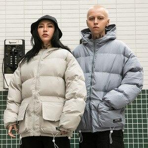 Image 4 - 2019 Winter Hooded Jacket Parka Streetwear Hip Hop Men Trench Windbreaker Oversize Harajuku Padded Jacket Coat Warm Outwear New